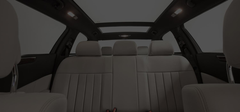 white interior of mercedes limousine